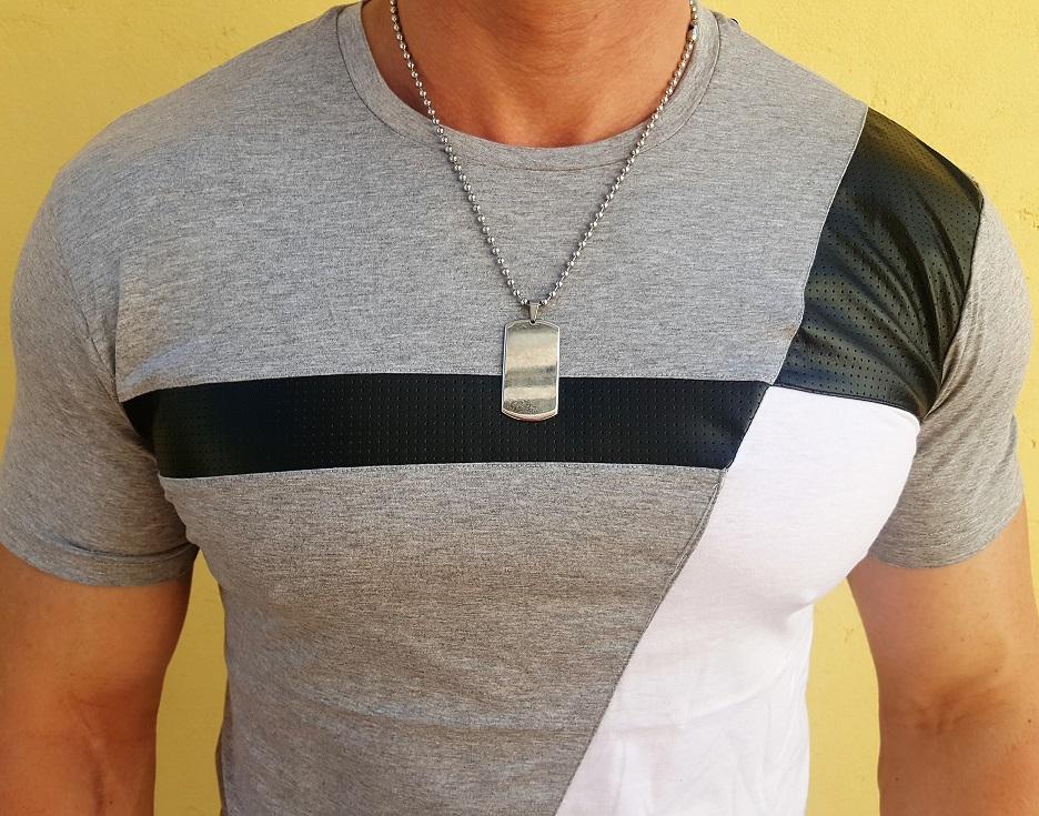 cf4e65059425 Pánske tričko s koženou aplikáciou 751 grey