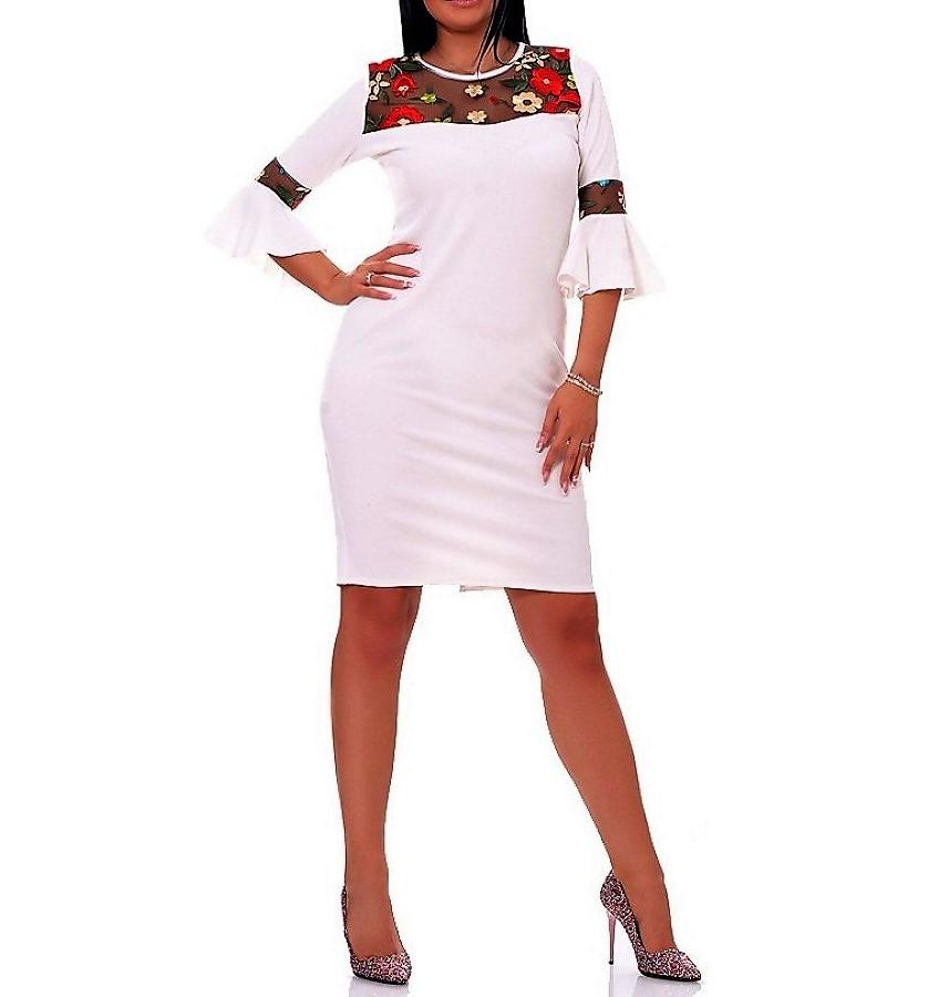 Dámske trendy šaty s kvetmi a volánmi 149 biele  2aec472bc53
