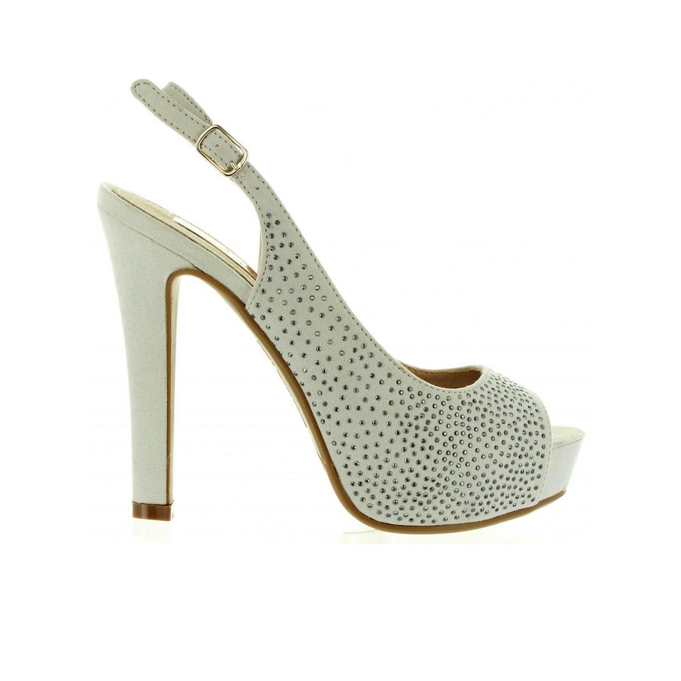 c9821994c947 Dámske vysoké sandále XTI crystal G190 silver -