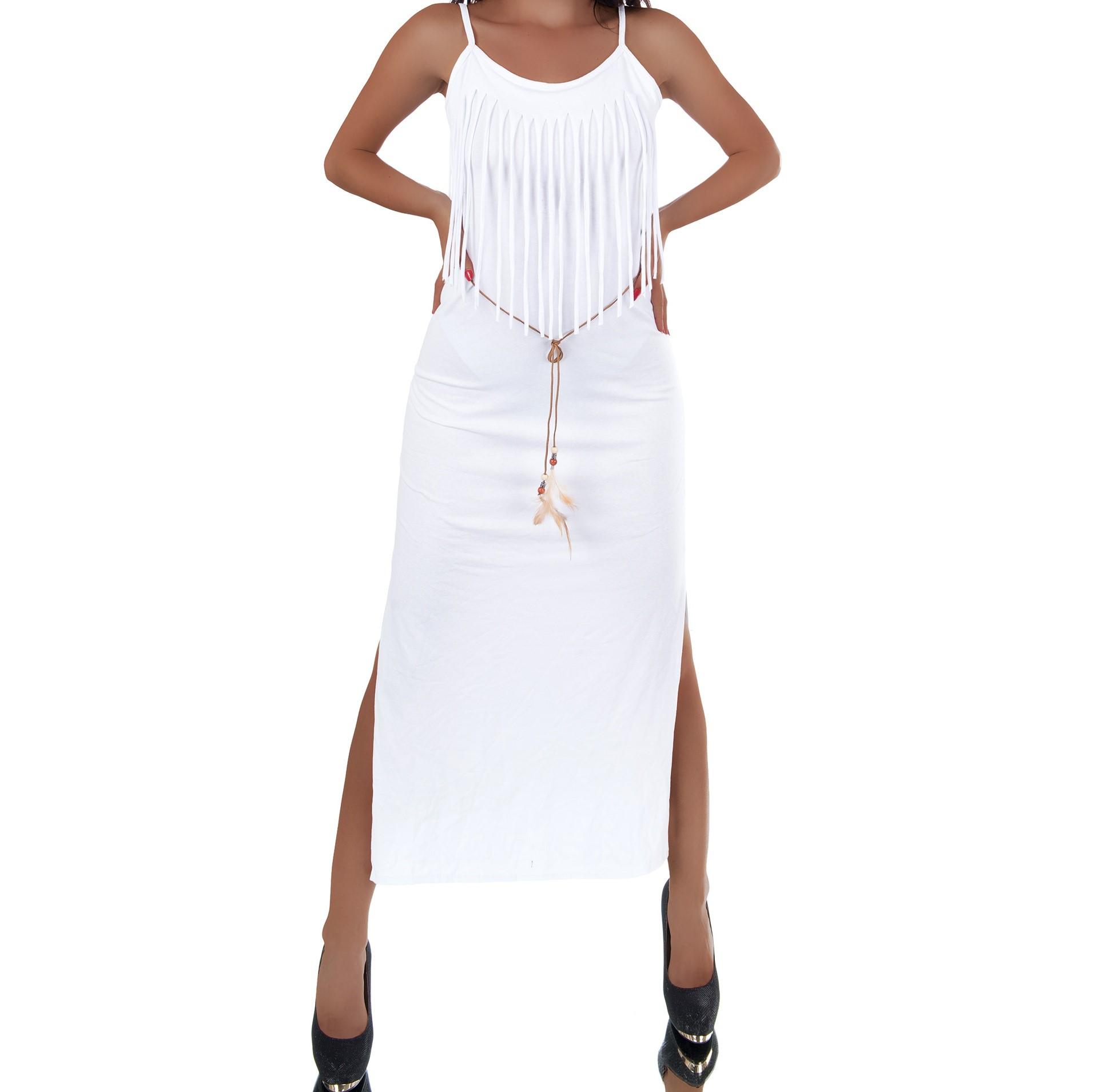 Dámske sexi šaty dlhé strapce 2 farby 8819  78ad1115f0d