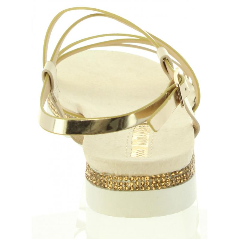2d10e766937f Dámske nízke sandále crystal metalické Maria Mare G67080 gold