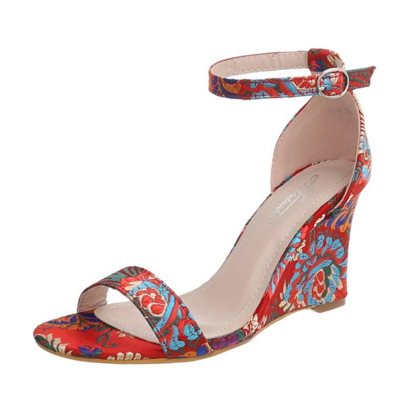 55090cc2255d Dámske sandále vysoké farebné klinové FK110 červené