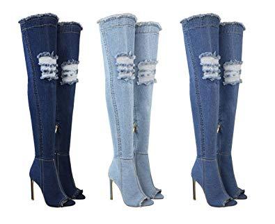 Dámske čižmy nad kolená JEANS vysoké HP44 SW170 modré  63f97fd88c0