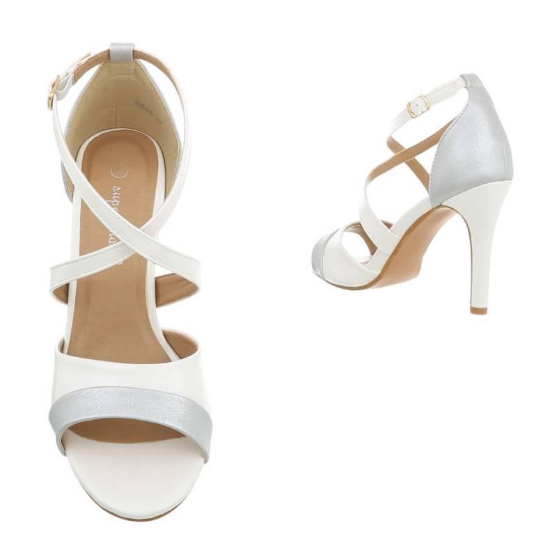 4653e619ad Dámske sandále vysoké spoločenské Shiny FK120 biele