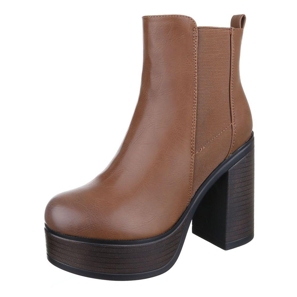 Dámske čižmy topánky platforma členkové 603-GASW120 hnedé  6004ff66098