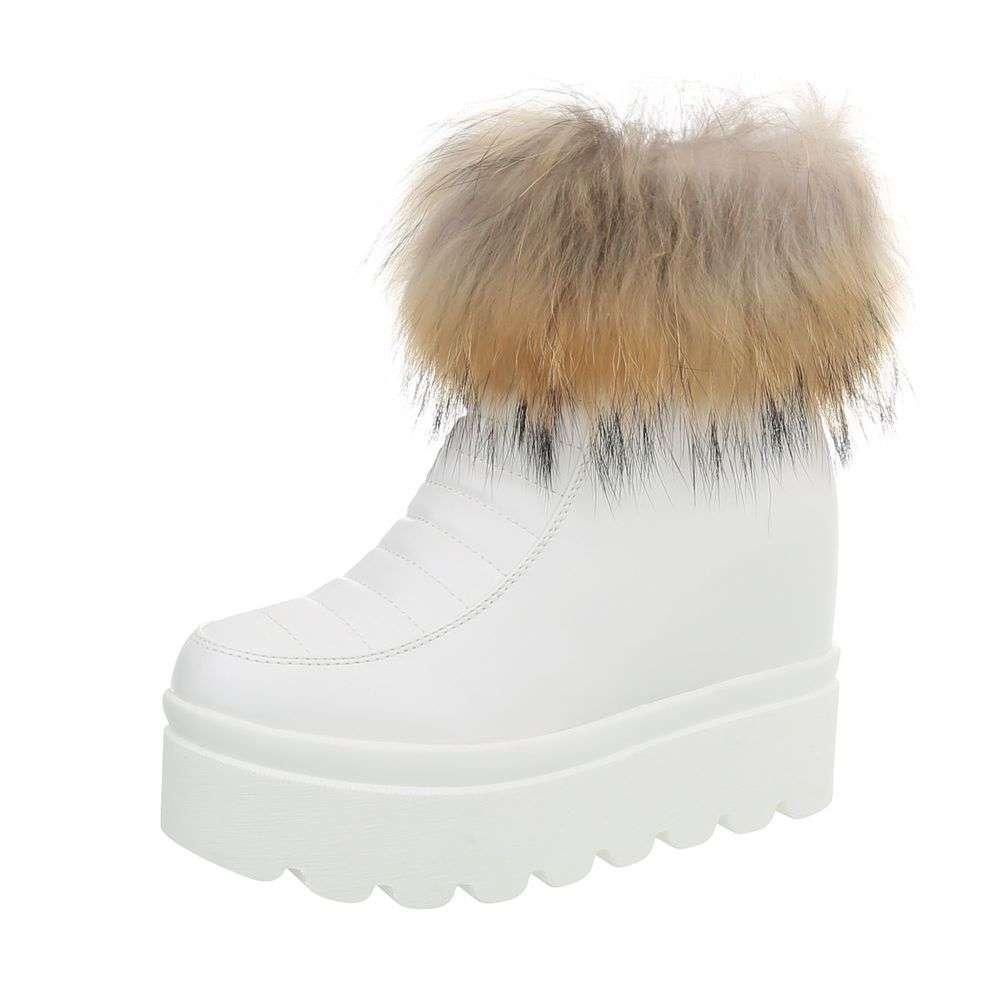 Dámske čižmičky topánky platforma kožušina ZY9167SW170 biele  9de12b9924e