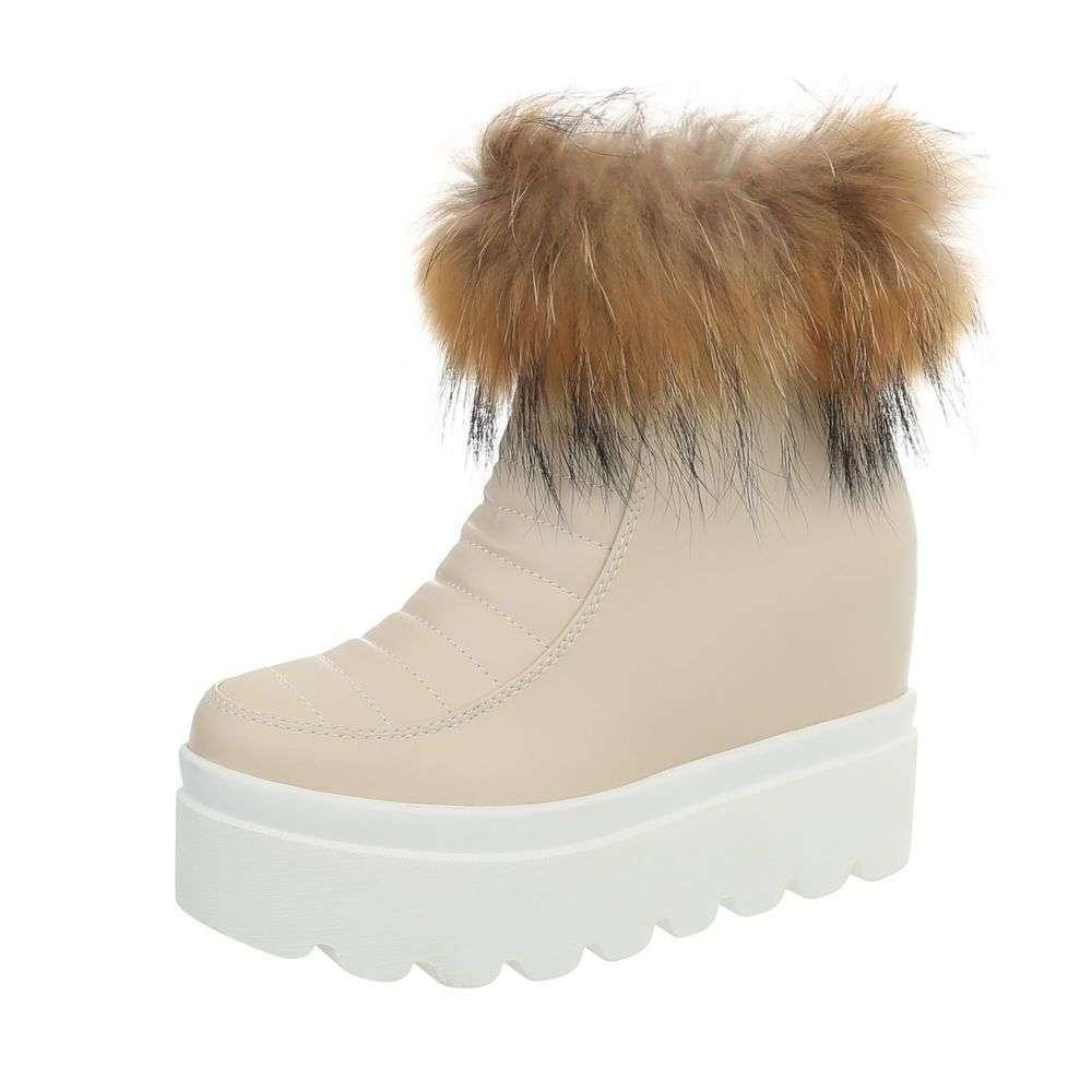 Dámske čižmičky topánky platforma kožušina ZY9167SW170 béžové  1264c9aa9bb