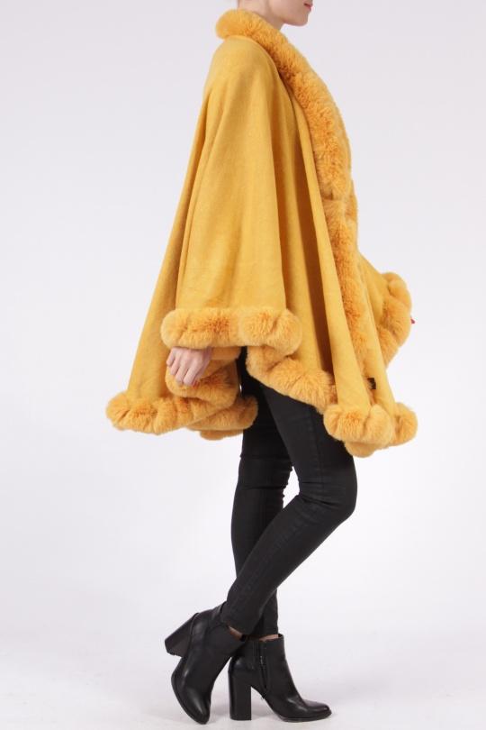 Dámsky exkluzívny kabát PARIS poncho s kožušinou 40278P320 mustard  f97ea5bae0f