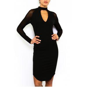 c654acf6694a ... Dámske elegantné šaty priliehavé midi EP15808P180 čierne ...