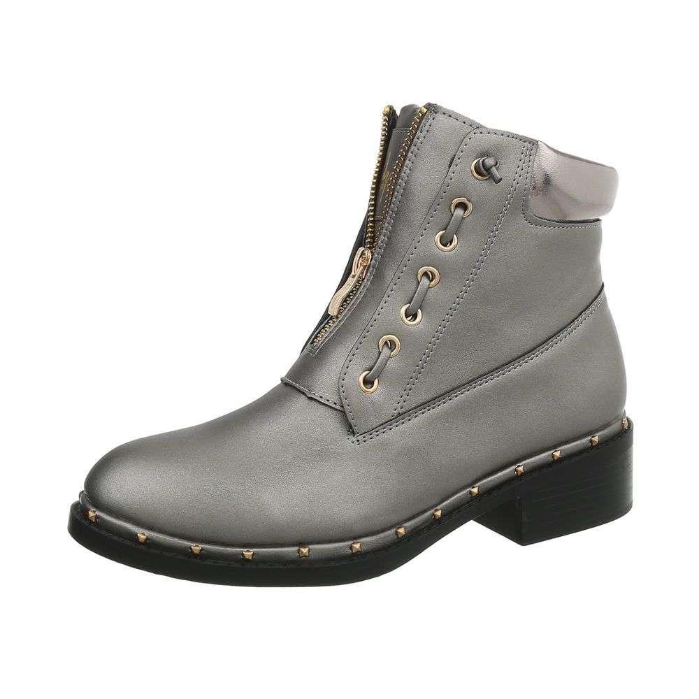 Dámske čižmičky topánky členkové zips studs GF019SW990 sivé