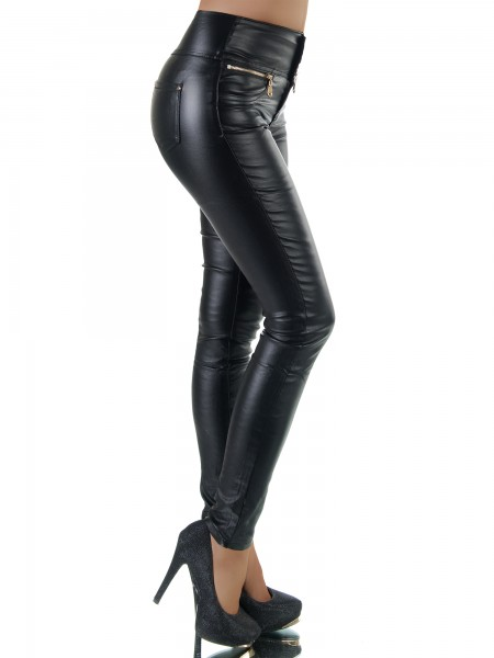 f6cfde8e5d3 Dámske nohavice legíny kožené slim 9833 čierne