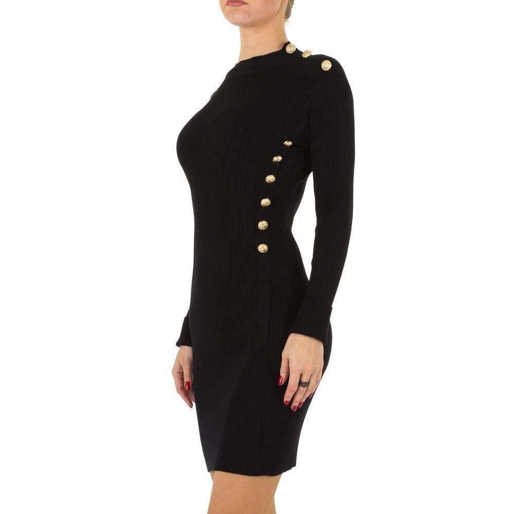 Dámske šaty basic priliehavé gombíky KL-K120SW130 čierne  c7554511f04