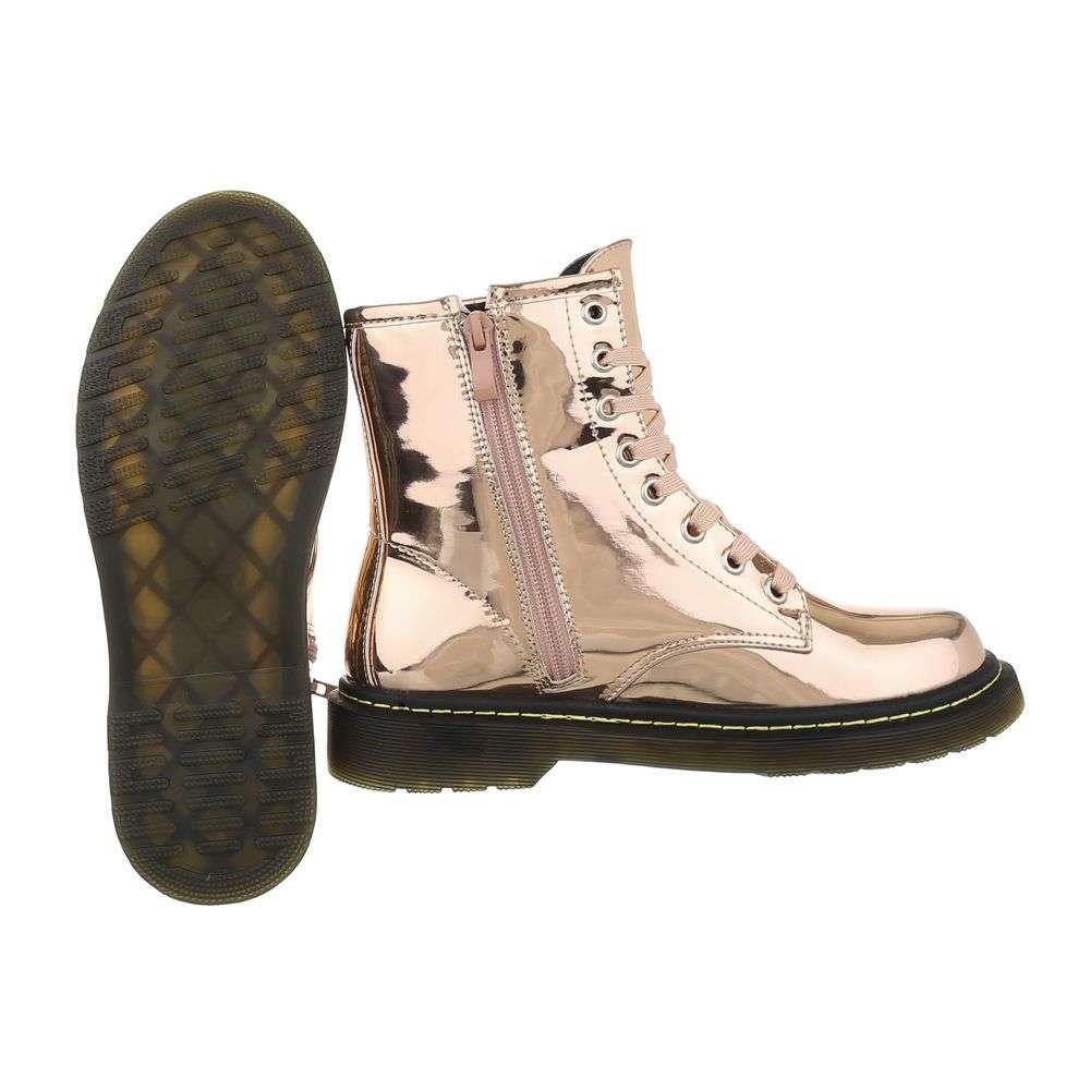 Dámske čižmy členkové topánky lakované rock F203SW150 champagne  e986e14ca37