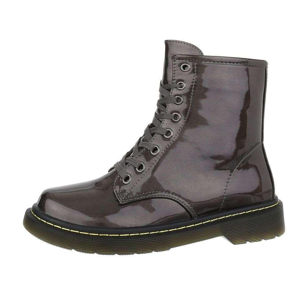 Dámske čižmy členkové topánky lakované rock F203SW150 sivé  309b1e0165f