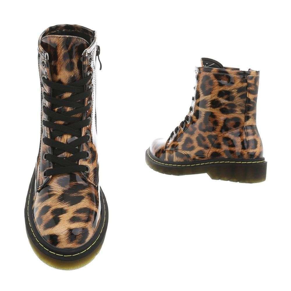 Dámske čižmy členkové topánky lakované rock F203SW150 leopard  5dd16199943