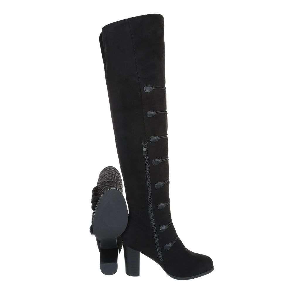 d24080c85911 Dámske čižmy nad kolená ponpon brmbolec H115SW140 čierne