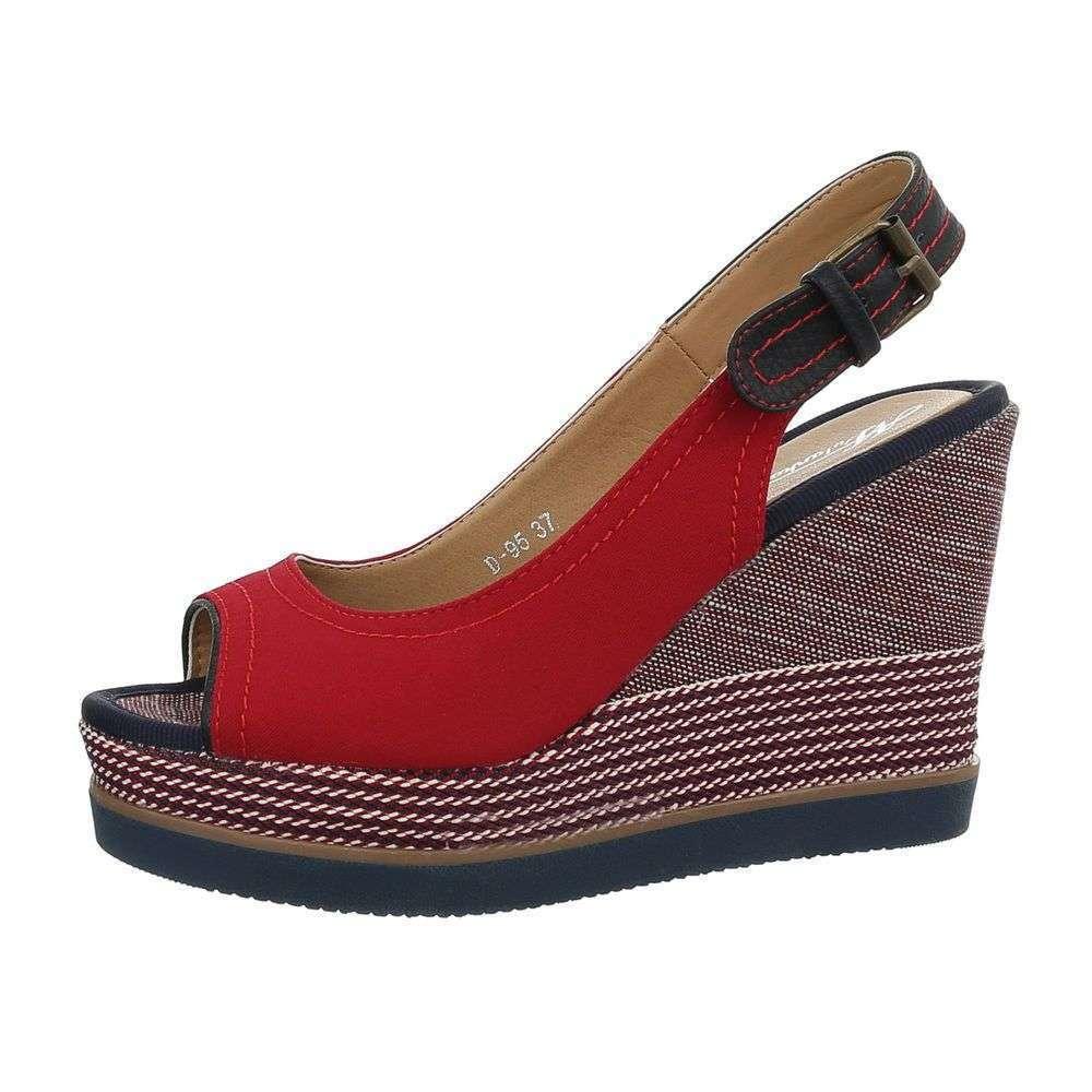 Dámske casual letné sandále klinové platforma D-95SW120 červené  c20c20e03cf